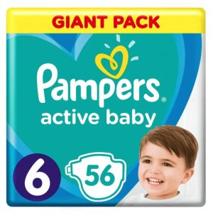 Pampers Active Baby Pieluchy 6 Extra Large 56 sztuk -21%