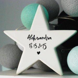 Porcelanowa Gwiazda z imieniem i datą urodzenia dziecka -20%